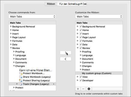 Klicken Sie auf Änderungen nachverfolgen (ältere Versionen), und klicken Sie dann auf > Verschieben Sie die Option unter der Registerkarte ' überprüfen '