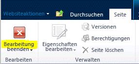 Schaltfläche 'Bearbeitung beenden' auf der Registerkarte 'Seite'