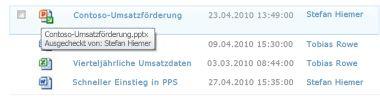 QuickInfo, die unter dem Symbol für ausgecheckte Dateien angezeigt wird und den Dateinamen und die Person enthält, die die Datei ausgecheckt hat.