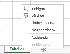 Screenshot des Menüs, das angezeigt wird, wenn Sie mit der rechten Maustaste auf eine Blattregisterkarte klicken, mit den Optionen zum Einfügen, Löschen, Umbenennen, Neuanordnen, Aus- oder Einblenden des Blatts.