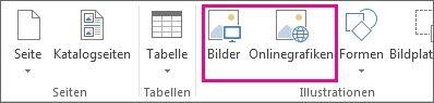 """Screenshot der Optionen unter """"Bild einfügen"""" im Menü """"Einfügen"""" von Publisher."""