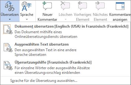 Übersetzen eines Dokuments oder einer Nachricht