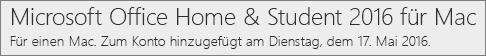 Anzeige der Mac-Version von Office 2016 auf Office.com/myaccount