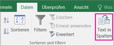 """Wählen Sie """"Daten"""" > """"Text in Spalten"""" aus."""
