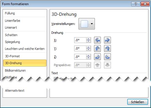 "Option ""3D-Drehung"" im Dialogfeld ""Form formatieren"""