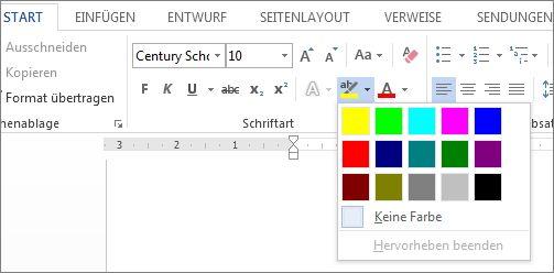 Menü 'Texthervorhebungsfarbe'