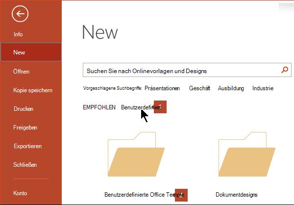 """Klicken Sie unter """"Datei"""" > """"Neu"""" auf """"Benutzerdefiniert"""" und dann auf """"Benutzerdefinierte Office-Vorlagen""""."""