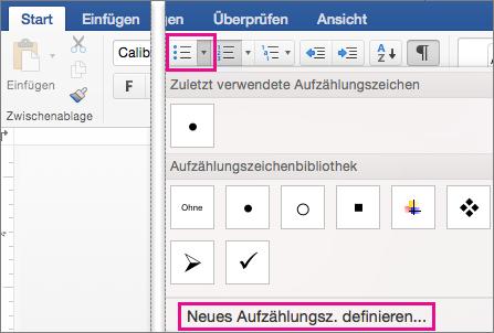 """Im Aufzählungszeichenkatalog ist """"Neues Aufzählungszeichen definieren"""" hervorgehoben."""