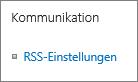 """Kommunikation für Listen, """"RSS-Einstellungen"""""""