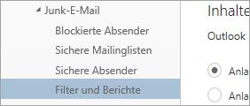 """Screenshot von """"Filter und Berichte"""" im Menü """"Optionen"""""""