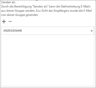 Screenshot: Wählen Sie das Pluszeichen (+) aus, um die Benutzer hinzuzufügen, die als Office 365-Gruppe senden dürfen