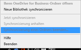 """Screenshot des Befehls """"Synchronisierung eines Ordners beenden"""" beim Rechtsklick auf den OneDrive for Business-Synchronisierungsclient"""