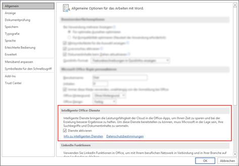 Das Dialogfeld ' Office-Optionen ' auf der Registerkarte ' Allgemein ' mit hervorgehobenem Abschnitt ' intelligente Dienste '