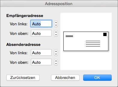 """Unter """"Adressposition"""" können Sie den Abstand der Adresse des Empfängers und der des Absenders vom Rand des Umschlags ändern."""