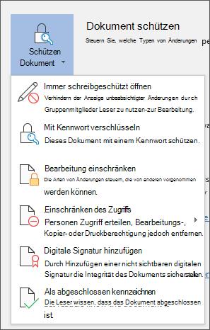 Das Menü ' Dokument schützen ' in Word für Office 365