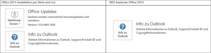 Grafik, die zeigt, wie Sie feststellen können, ob sich bei einer Office 2013-Installation um eine Klick-und-Los-Installation oder um eine MSI-basierte Installation handelt