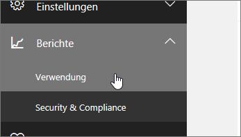 """Klicken Sie im Admin Center auf """"Berichte"""" und dann auf """"Nutzung""""."""