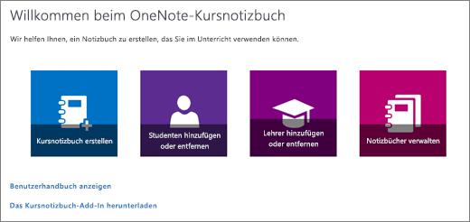 """OneNote-Assistent für Kursnotizbücher mit den Symbolen """"Kursnotizbuch erstellen"""", """"Schüler hinzufügen/entfernen"""", """"Lehrer hinzufügen/entfernen"""" und """"Notizbücher verwalten""""."""