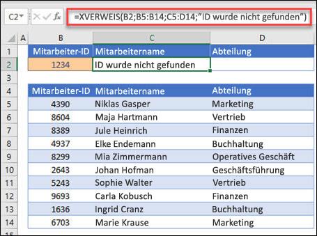 """Beispiel für die Verwendung der XVERWEIS-Funktion, um den Namen und die Abteilung eines Mitarbeiters anhand der Mitarbeiter-ID mit dem Argument wenn_nicht_gefunden zurückzugeben. Die Formel lautet: =XVERWEIS(B2;B5:B14;C5:D14;0;1;""""Mitarbeiter nicht gefunden"""")"""