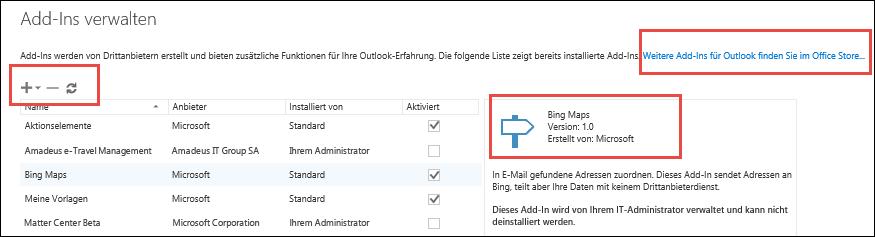 Verwalten von Add-Ins in Outlook