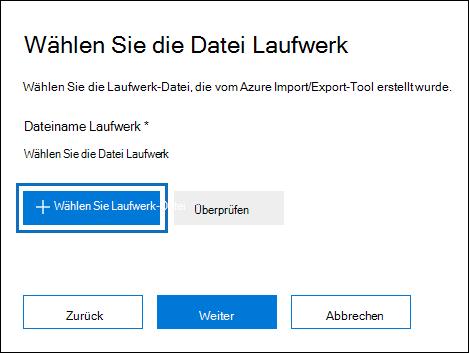 Klicken Sie auf Select Laufwerk Datei zum Übermitteln der Journaldatei, die erstellt wurde, wenn Sie das Tool WAImportExport.exe ausgeführt haben
