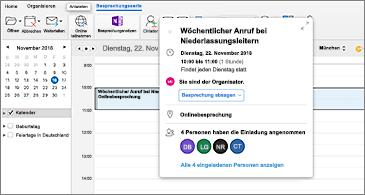Kalender mit ausgewählter Besprechung im Hintergrund und Ereigniskarte im Vordergrund