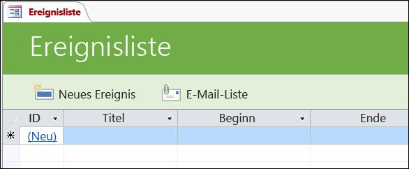 """Formular """"Ereignisliste"""" in der Access-Datenbankvorlage """"Ereignisse"""""""