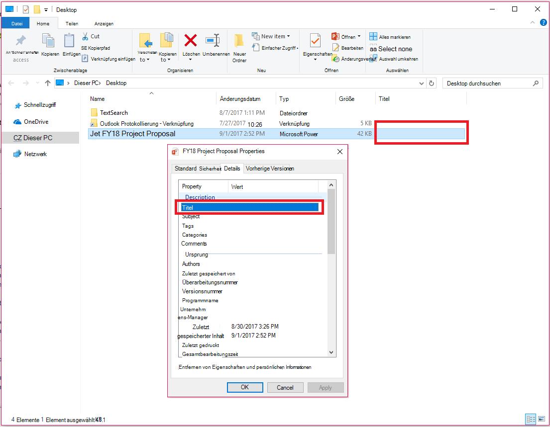 Office-Dokumenteigenschaften im Datei-Explorer von Windows