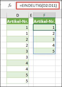 Beispiel für die EINDEUTIG-Funktion: =EINDEUTIG(D2:D11)