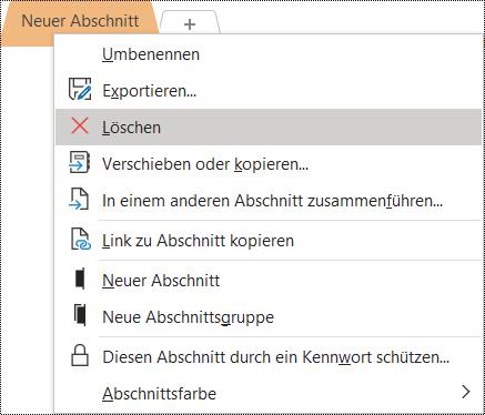 Screenshot des Kontextmenüs für das Entfernen eines Abschnitts