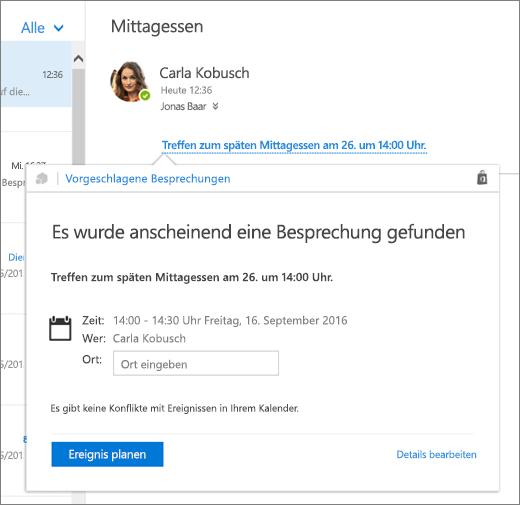 """Screenshot einer E-Mail-Nachricht mit Text zu einer Besprechung und der Karte """"Vorgeschlagene Besprechungen"""" mit den Besprechungsdetails und Optionen zum Planen der Veranstaltung und zum Bearbeiten der entsprechenden Details."""