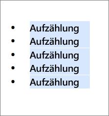 Beispiel für eine Aufzählung mit runden schwarzen Kreisen als Aufzählungszeichen