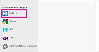 Seite 'E-Mail-Konten hinzufügen' in Windows 8 Mail