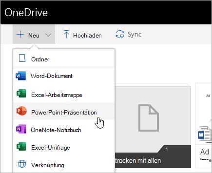 Erstellen von Dateien in OneDrive for Business