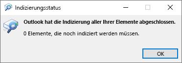 Indizierungs Status für die Outlook-Suche