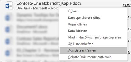 Das Kontextmenü, das angezeigt wird, wenn Sie in der Liste der zuletzt verwendeten Dateien mit der rechten Maustaste auf eine Datei klicken