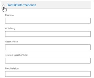 """Erweitern Sie den Abschnitt """"Kontaktinformationen"""", um optionale Informationen wie Mobiltelefonnummer und Adresse einzugeben."""