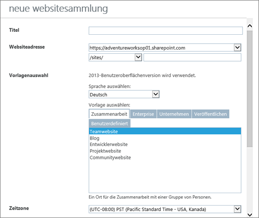 "Dialogfeld ""Neue Websitesammlung"""