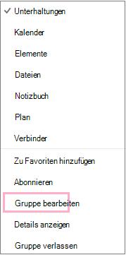 """Kontextmenü der Kalendergruppe mit hervorgehobener Option """"Gruppe bearbeiten"""". Das Menü wird angezeigt, wenn in der Menüleiste für die jeweilige Gruppe die Schaltfläche """"Weitere Aktionen"""" ausgewählt wird."""