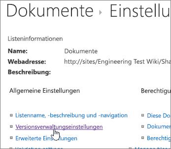 """Dialogfeld """"Bibliothekseinstellungen"""" mit aktivierter Versionsverwaltung"""