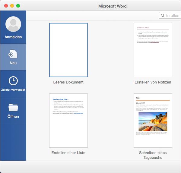 Erstellen eines neuen Dokuments mithilfe einer Vorlage in Word 2016 ...