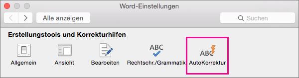 """Klicken Sie in den Word-Einstellungen auf """"AutoKorrektur"""", wenn Sie anpassen möchten, was die AutoKorrektur-Funktion in Ihrem Dokument ändert."""