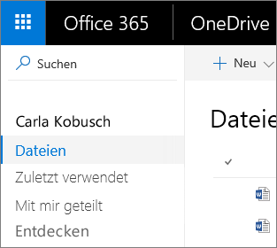 "Screenshot der Ansicht ""Dateien"" in OneDrive for Business"