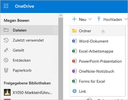 OneDrive: Ordner erstellen