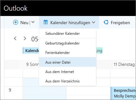 """Screenshot der Liste """"Kalender hinzufügen"""", Feld """"Aus Datei"""" ausgewählt"""