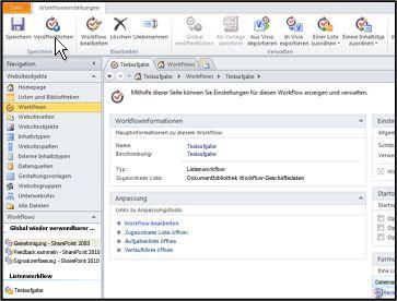 Wenn Sie den Namen des Workflows auswählen, öffnet SharePoint Designer eine Seite, auf der Sie den Workflow veröffentlichen können.