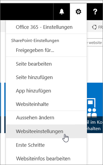 "Dropdownmenü ""Websiteeinstellungen"""