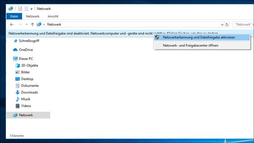 Aktivieren der Netzwerkerkennung im Datei-Explorer