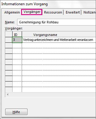 Dialogfeld 'Informationen zum Vorgang' mit Registerkarte 'Vorgänger'.