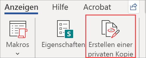 """Zeigt die Schaltfläche """"private Kopie erstellen"""" in einem Dokument"""